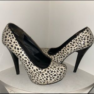 black and white spotted heels clear sequence